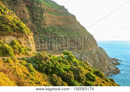 Chapman's Peak Drive at sunset, Cape Town, South Africa.