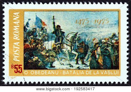 ROMANIA - CIRCA 1975: A stamp printed in Romania issued for the 500th anniversary of the defeat of the Turcs by Stephan the Great shows Battle of Vaslui (Oscar Obedeanu), circa 1975.