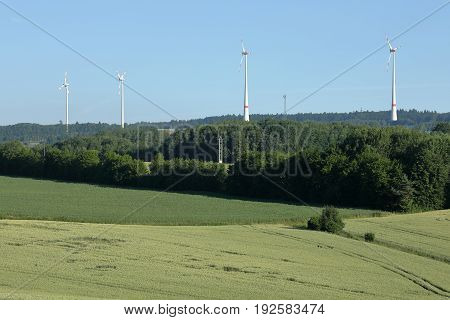 A Wind farm for renewable energy in a Landscape