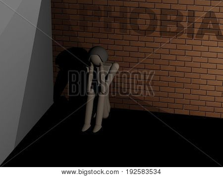 A man suffering from phobia sitting huddled in the corner (3D rendering with wooden dolls)