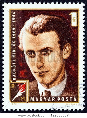HUNGARY - CIRCA 1972: A stamp printed in Hungary shows poet Miklos Radnoti, circa 1972.