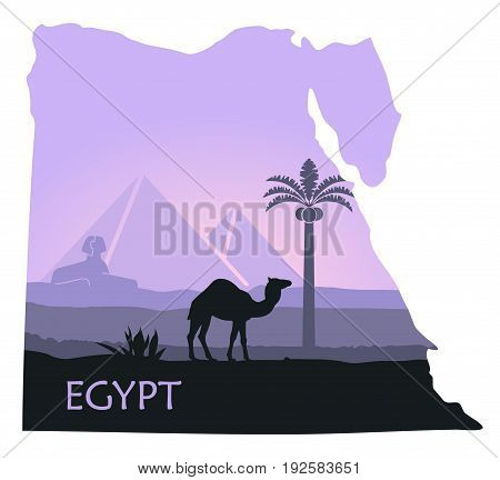 Map of Egypt with the image of a landscape with pyramids, a Sphinx and a camel