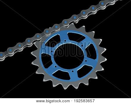 Part of a bicycle chain with chain-blade (3D rendering)