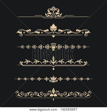 Set of calligraphical gold elements of design.Medieval style. Execution of the page. Allocation of the text in vintage style. Typographical partitions jewelry for books.