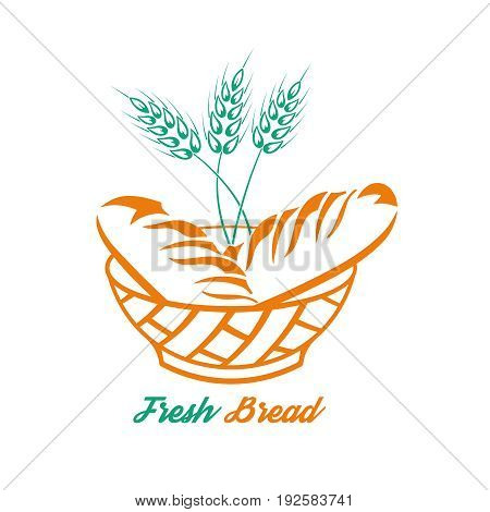 Bread in a bowl and a grain cereal.Concept fresh product.Logo. A vector illustration for a sign labels emblems.