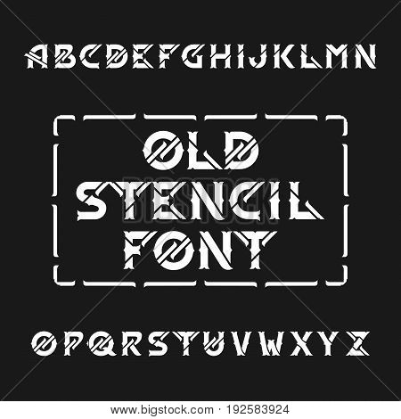 Old stencil alphabet vector font. Type letters on a dark background. Vintage vector typeface for labels, headlines, posters etc.