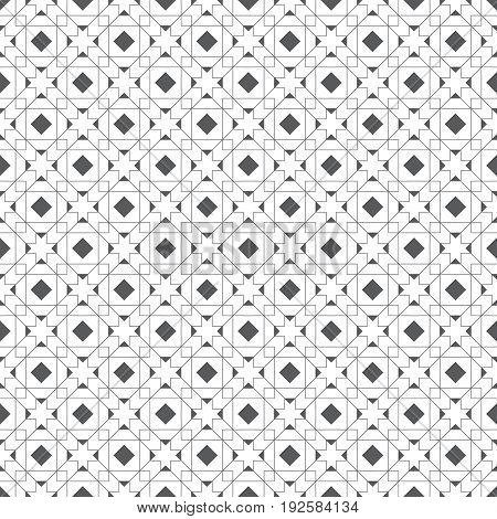 Vector seamless pattern. Stylish modern texture with constant repetition classical geometrical shapes rhombuses crosses triangles squares. Contemporary design