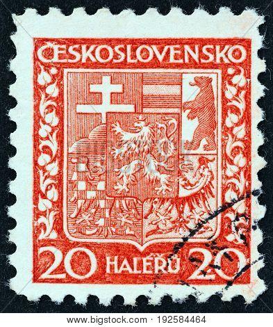 CZECHOSLOVAKIA - CIRCA 1929: A stamp printed in Czechoslovakia shows National Arms, circa 1929.