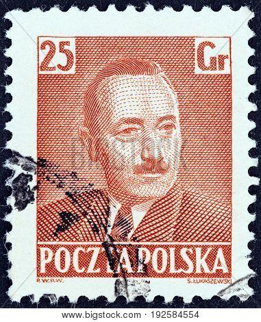 POLAND - CIRCA 1950: A stamp printed in Poland shows President Boleslaw Bierut, circa 1950.