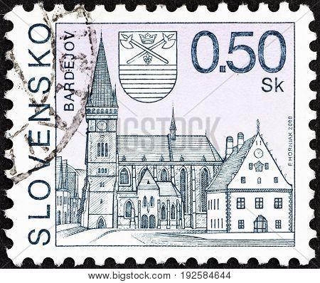 SLOVAKIA - CIRCA 2000: A stamp printed in Slovakia shows Bardejov town, circa 2000.