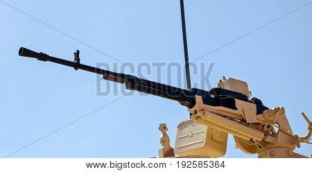 Machine gun in a war car for a destruction