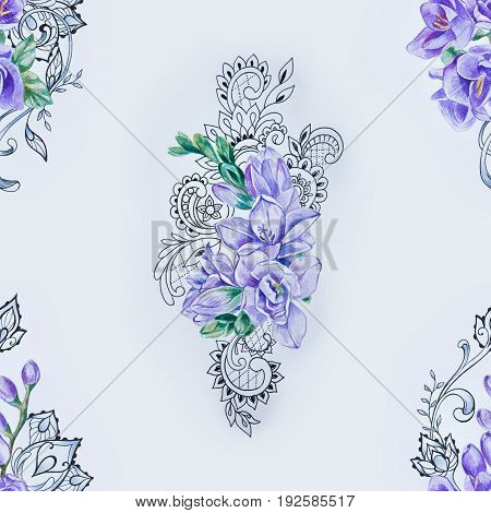 Seamless pattern of beautiful purple freesia on white background.