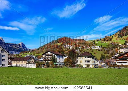 Engelberg, Switzerland - 12 October, 2015: view of the town of Engelberg in autumn. Engelberg is a resort town and municipality in the Swiss canton of Obwalden.