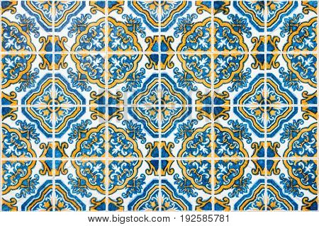 Closeup detail of traditional Portuguese glazed tiles.
