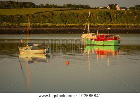 Boats at the pier at Oranmore Co. Galway.