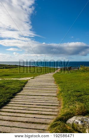 Pathway towards the beach at Fanore Co. Clare. poster