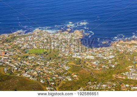 Aerial view of Bantry Bay near Cape Town as seen from Lion's Head within the Table Mountain National Park in South Africa, Western Cape.