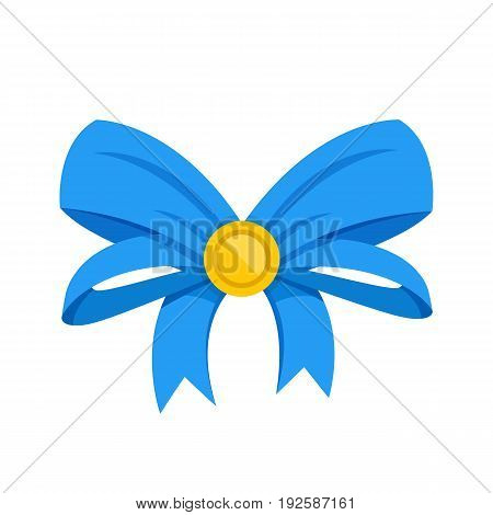 Vector blue bow. Gift bow and ribbons. Vector illustration isolated on white background