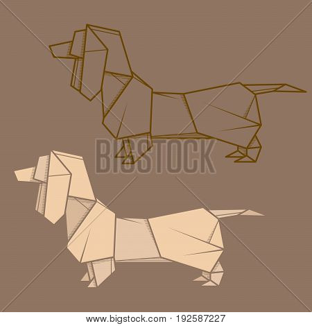 Set vector simple illustration paper origami and contour drawing of dachshund.