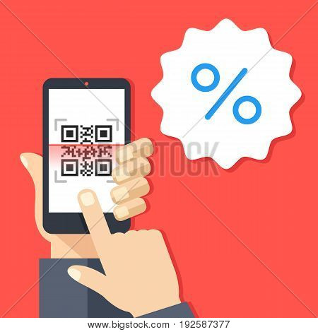 QR reader, QR code reader app on smartphone screen and discount badge sticker. Hand holding smartphone, finger touching screen. Sale, internet discount concepts. Modern flat design vector illustration