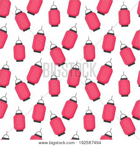 Lantern vector flat seamless pattern flat design of Chinese or Japanese red lantern Vector illustration with swatch