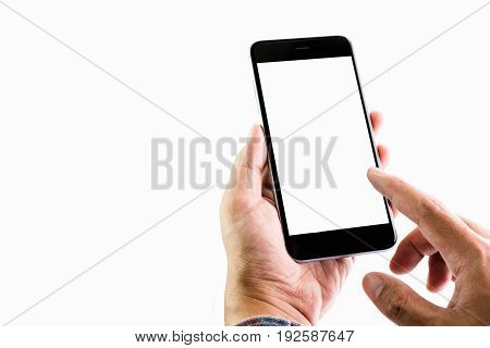 Man holding a smartphone blank screen. Take your screen to put on advertising.
