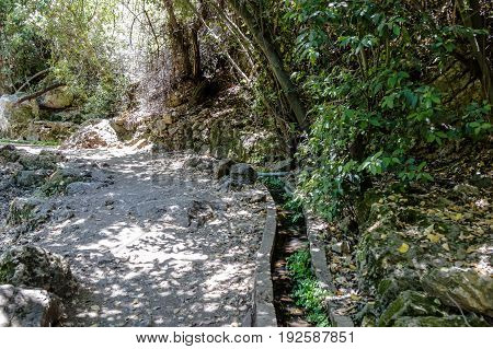 Path passing through a wooded and descending to the Amud River