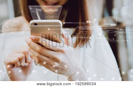 Women using a smartphone in the display and technology advances in stores. Take your screen to put on advertising.