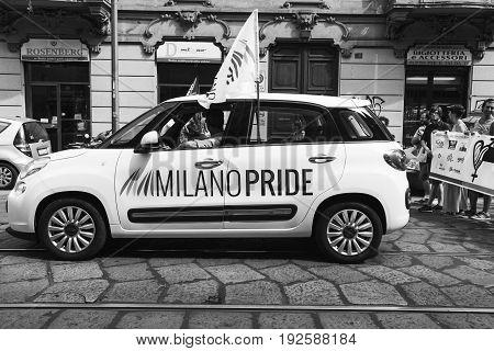 Car At Pride Parade 2017 In Milan, Italy