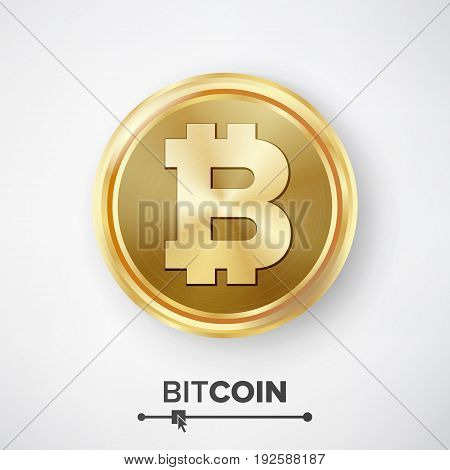Bitcoin Gold Coin Vector. Realistic Crypto Currency Money And Finance Sign Illustration. Bitcoin Digital Currency Counter Icon. Fintech Blockchain. World Cryptography