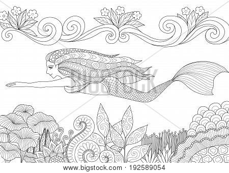 Pretty mermaid swimming above beautiful coral for adult and kid coloring book page. Vector illustration.