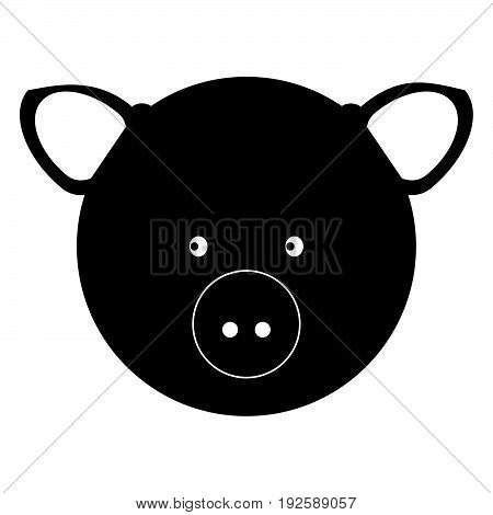 Pig Head  The Black Color Icon .