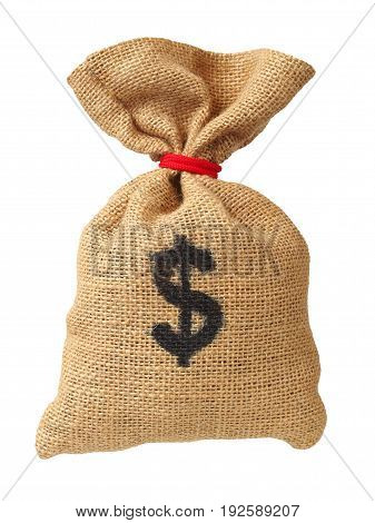 Bag with dollars isolated on white background
