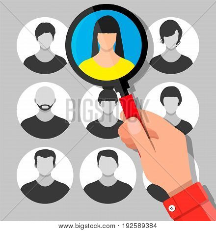 Human resources management concept, searching professional staff, work. Hand with magnifying glass found right resume. Vector illustration in flat style