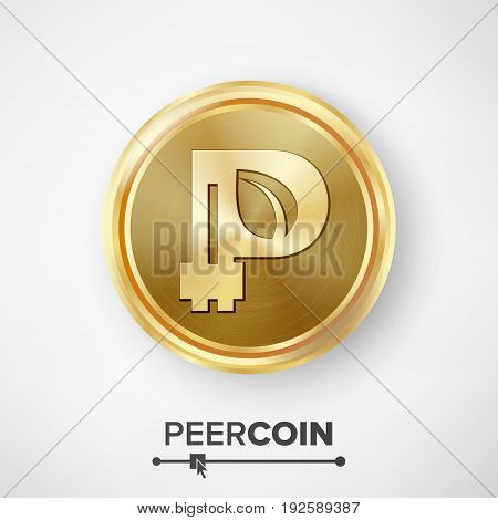 Peercoin Gold Coin Vector. Realistic Crypto Currency Money And Finance Sign Illustration. Peercoin Digital Currency Counter Icon. Fintech Blockchain.