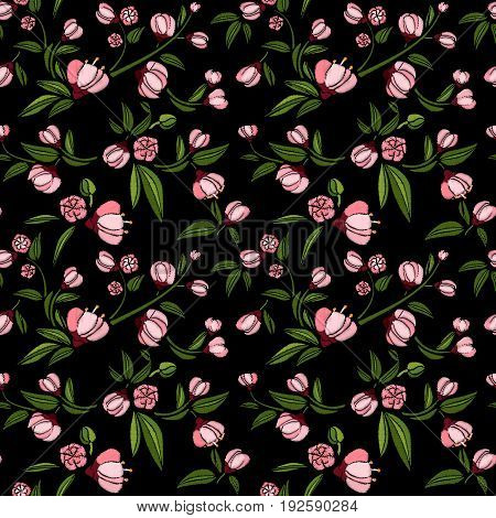 Seamless pattern of rose small flowers like piones on a black background. Embroidery ethnic floral background. line design fashion wearing. Vector vintage, decorative element for patches and stickers