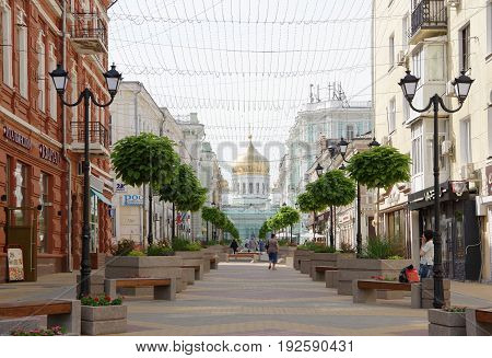 Rostov-on-Don Russia - June 182017:On a side street Cathedral stroll and relax people