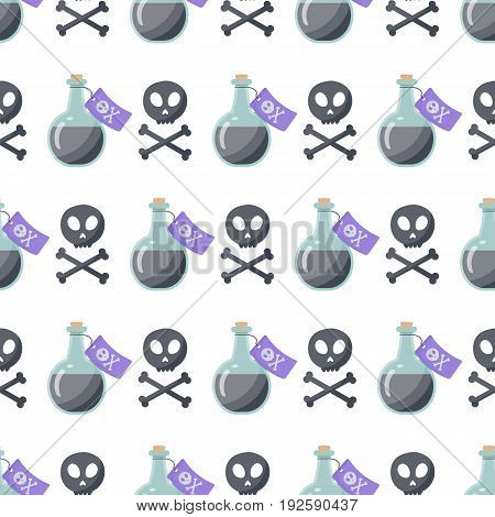Poison vector flat seamless pattern Flat design of danger toxic medical or magical symbols isolated on the white background vector illustration