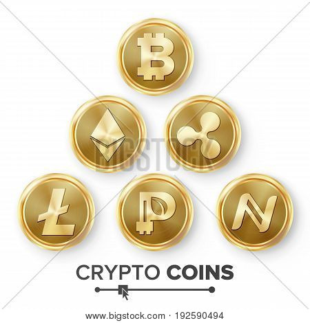 Digital Currency Counter Icon Set Vector. Fintech Blockchain. Famous World Cryptography. Gold Coins. Crypto Currency Money Illustration. Bitcoin, Litecoin, Peercoin, Ripple Coin, Etherum