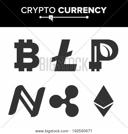 Digital Currency Counter Set Vector. Fintech Blockchain. Famous World Cryptography. Crypto Currency Money Sign Illustration. Bitcoin, Litecoin, Peercoin, Ripple Coin, Etherum