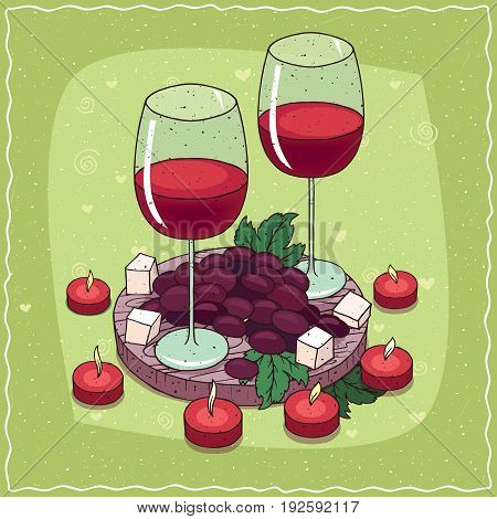 Composition With Red Wine And Grapes And Cheese