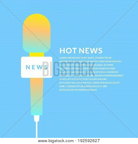 Bright vector poster with the news of a microphone and a field for text on bright background. Vector illustration in flat, minimalistic style.