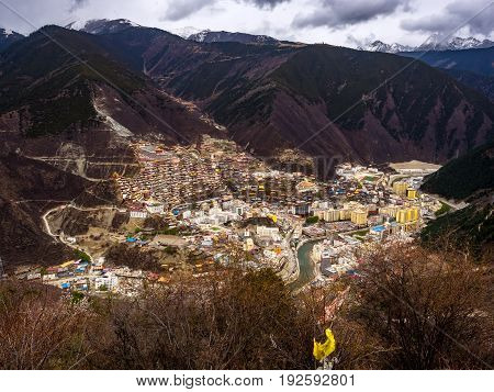 Aerial view of the town of Baiyu in Sichuan China