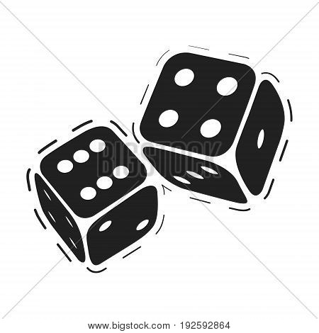 Rolling dice. Casino game dices isolated on white background. Vector illustration.