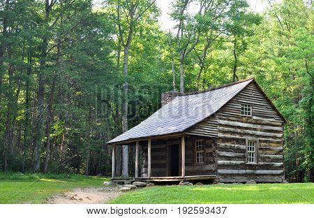 Carter Shields Cabin at Cades Cove, a historic log home built in the 1880s