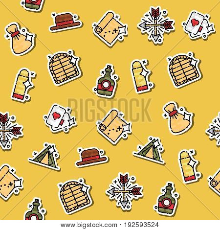 Colored Wild west concept icons pattern. Vector illustration, EPS 10