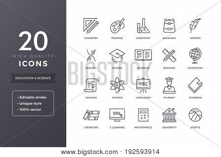 Education line icons. Vector e-learning and school icon set with editable stroke
