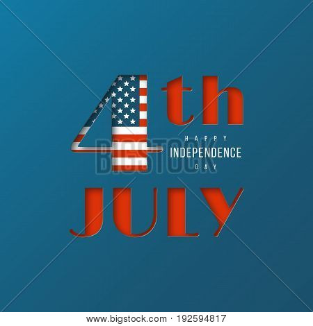 USA Independence Day background. 4 th July cut paper style. Vector illustration.