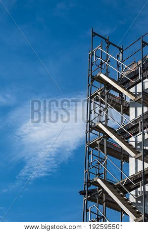 Building site with scaffold in Rostock Germany.