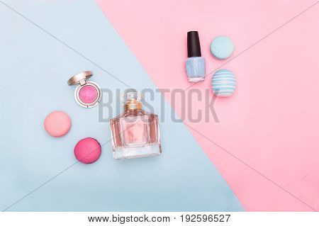 beauty Fashion flat lay on blue and pink background